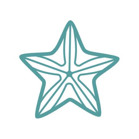 Sea starfish vector single icon, separate isolated illustration. Ocean and sea wild life. Underwater mollusk animal