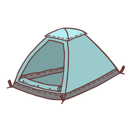 Hand-drawn tent, sketch-colored illustration. Camping separate icon, colorful doodle image.