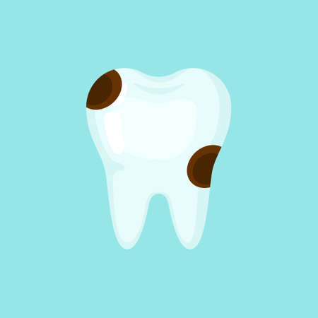 Ill caries tooth, cute colorful vector icon illustration. Cartoon flat isolated image Illustration