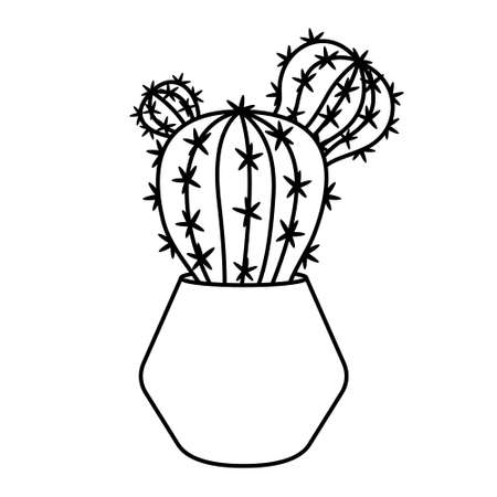 Cactus and succulent line style cartoon vector illustration. Decorative flower plant in pot. Isolated icon cacti Illustration