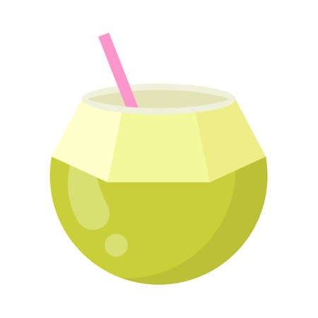 Cute coconut exotic fruit, isolated colorful vector icon. Bright single fruit illustration