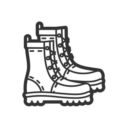 Military boots, vector flat icon for paintball, airsoft, traveling