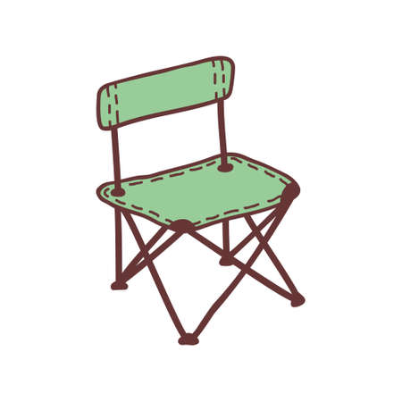 Hand drawn camping chair, sketch colored vector illustration. Camping separate icon, colorful doodle image. Element for using in design, packing, textile, logo.