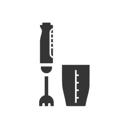 Hand blender glyph single isolated vector icon. Kitchen appliances and electronics illustration on white background
