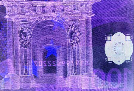 onehundred: Artistic macro of onehundred euro bill
