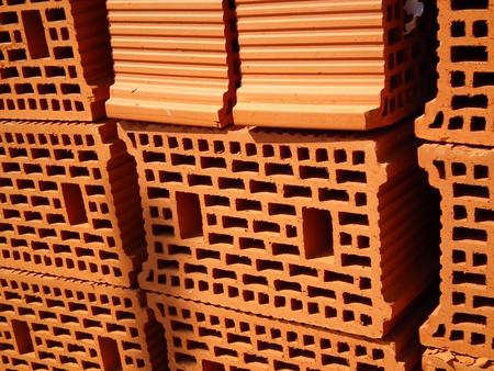 Red bricks on construction site