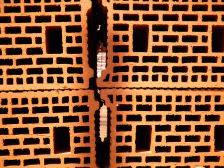 Red bricks at construction site