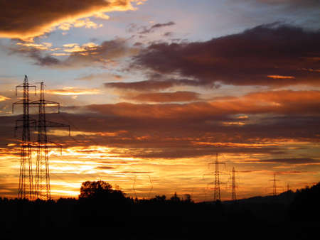 molest: Early morning sky and electric masts