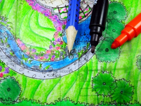 grass  plan: Pencil, markers and drawing of external architecture