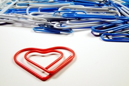 staples: Isolated red heart staple and other staples