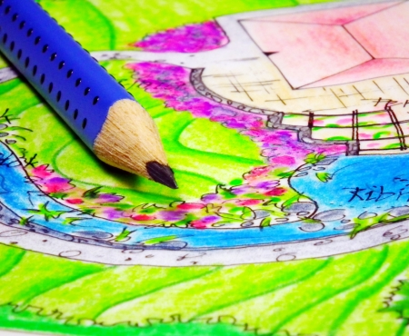 Pencai and drawing of garden