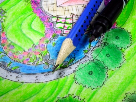 Pencil, marker and drawing of garden plan