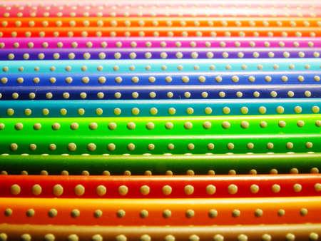 Crayons buulding rainbow texture Stock Photo