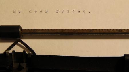 Moji milí freind koncept slova na starý psací stroj. Reklamní fotografie