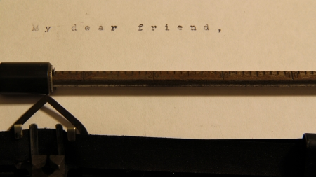 My dear freind concept words on old typewriter. Stock Photo