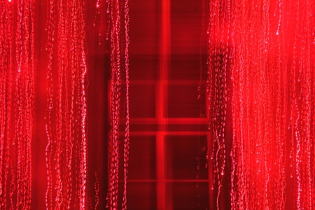 decoraton: Red window with light decoraton, blurred, high timing and color correction. Stock Photo
