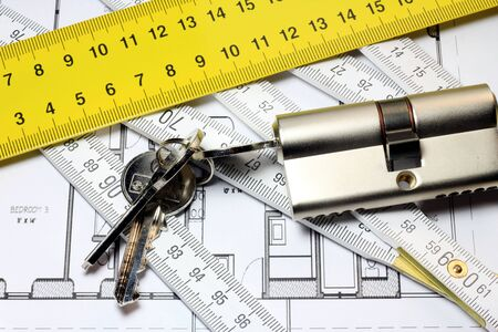 Lock a new home with lock and keys. Design a security of new home. photo