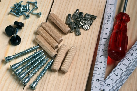 Carpenters tools for construct a new furniture. Stock Photo