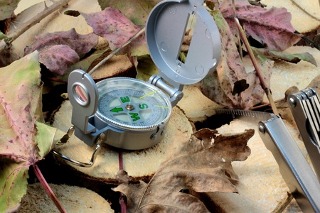 surviving: compass and knife for surviving in wild nature. Stock Photo