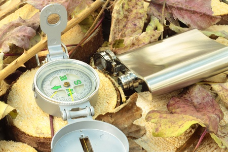 A flask and the compass in natural background