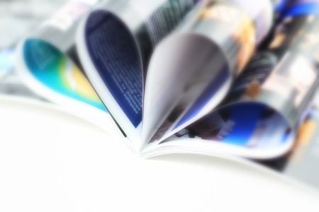 A catalog on white background  Shallow DOF