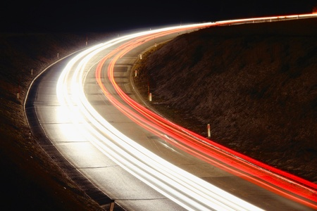 Lights of cars on the road at night  Imagens