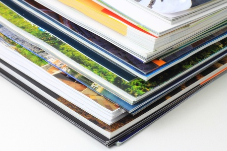 A bunch of magazines on shelf  Stock Photo