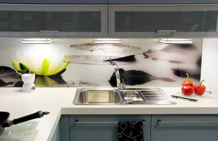 Modern kitchen in black colors  photo