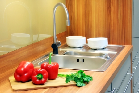 Kitchen interior with red pepper, parsley for decoration