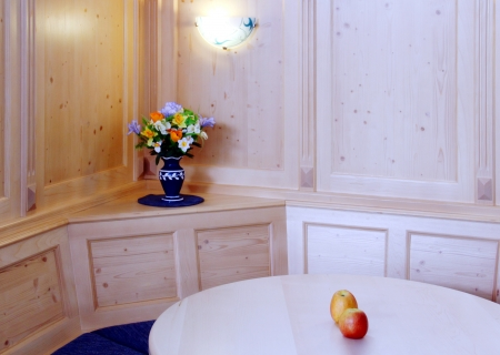 Wooden kitchen interior with vase and apples for decoration  Stock Photo - 13767805