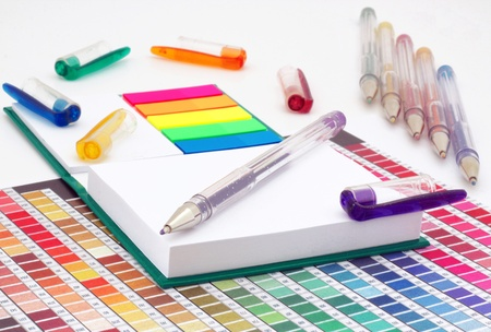 Note, color chart and pencils  photo