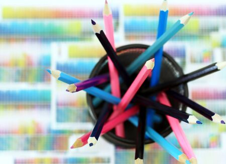 Multicolored crayons in the box  Stock Photo