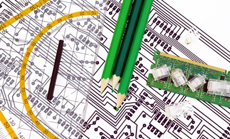 Designing electronic components  Stock Photo