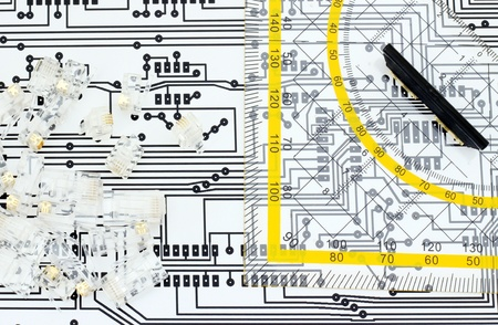 Ruler, jacks and circuit board schema  Desing electronic components, network, internet