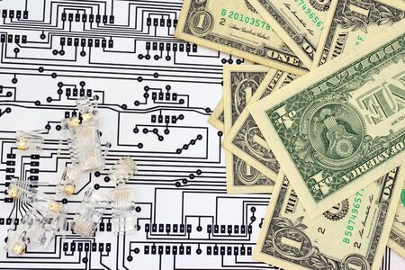 Paper money, jacks and circuit board schema