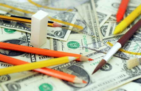 Costs for school supplies  Stock Photo