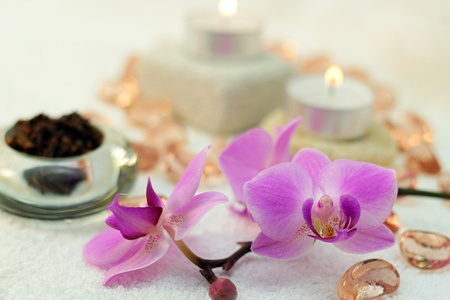 Spa concept with orchids and candles