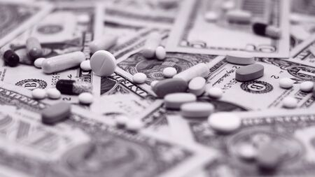 Pills on paper money  Expensive medicine Stock Photo - 17369716
