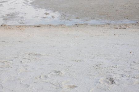 koh samet: Footprints on white sand at Koh Samet, Rayong, Thailand  Stock Photo