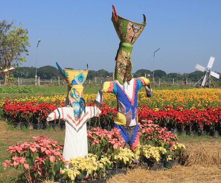 Robot Ghost Dance is a symbol of Sakon Nakhon and fields of marigolds and a Christmas tree. photo