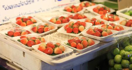 strawberrys: Strawberrys small market in Thailand.