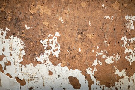 Stained iron sheet background. Rusted and corroded on metal white background. Grunge metal corrosion.
