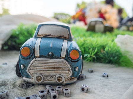 cooper: tiny car with  dice Stock Photo