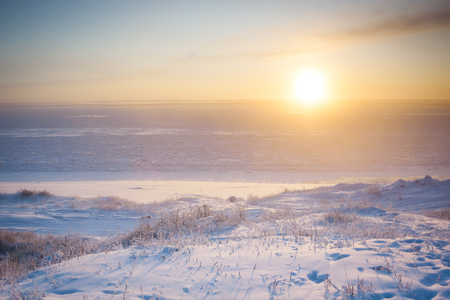 lena: Dawn over the river Lena in Sakha (Yakutia) Republic Stock Photo