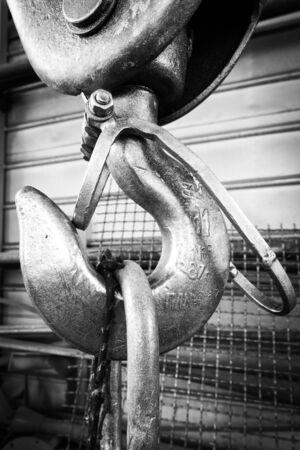 production area: Hook suspension cranes on the shop floor Stock Photo