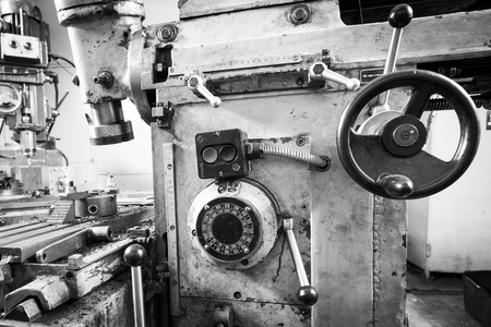 drilling machine: Black and white photo of a drilling machine tool machine Stock Photo