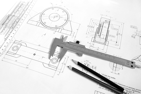 graphic designing: Drawing of the bearing housing with vernier calipers and pencils Stock Photo