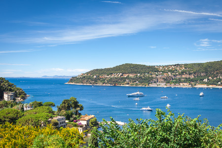villefranche sur mer: Panoramic view of the bay Villefranche-sur-Mer in France