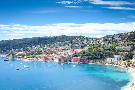 villefranche sur mer: Panoramic view of the bay of Villefranche-sur-Mer, France Stock Photo