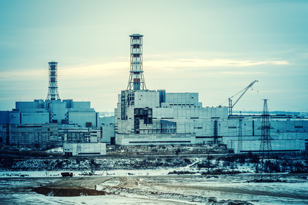 nuclear power plant: Construction of a nuclear power plant unit Stock Photo